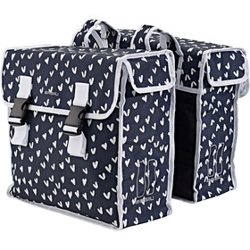 Basil Mara XL Double Pannier Bag 35l, heart dots